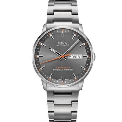 MIDO 美度 Commander 香榭系列天文台機械腕錶-灰x銀/40mm M0214311106101