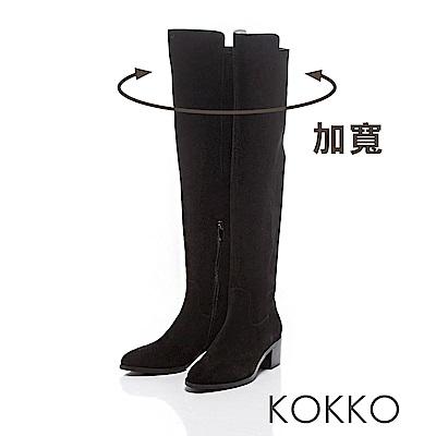 KOKKO - 逆天顯瘦真皮過膝長靴 -霧面黑
