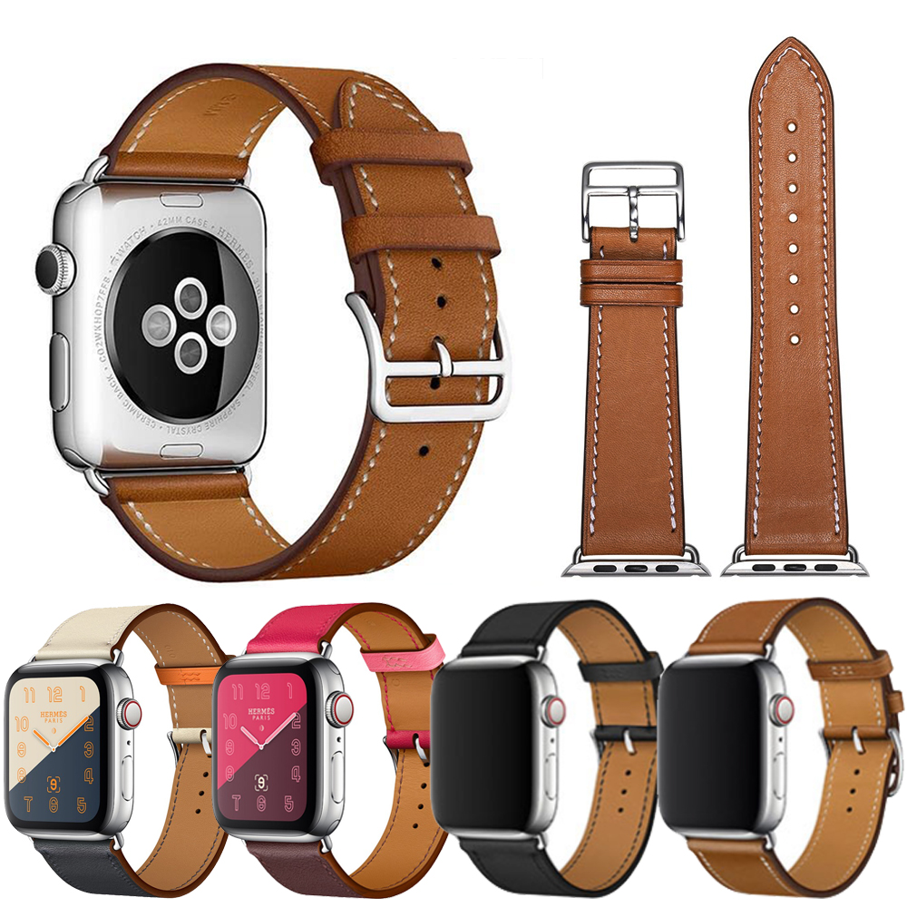 Apple Watch 1/2/3/4 真皮質商務錶帶 撞色腕帶
