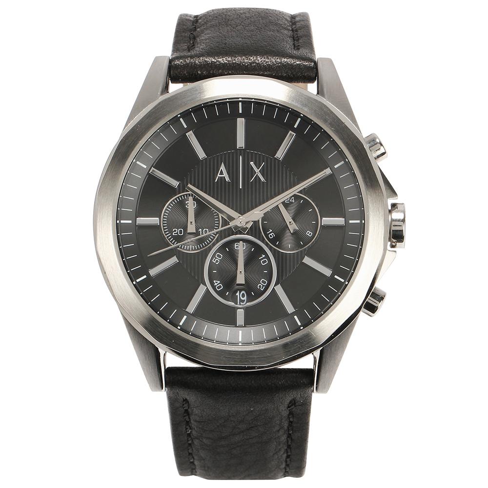 A/X Armani Exchange 三眼率性線條皮帶男腕錶-(AX2604)-45mm