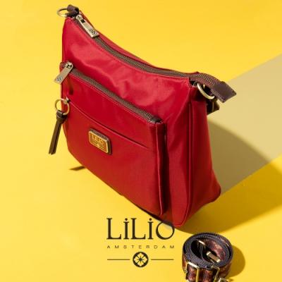【LILIO】胭脂紅_拉鏈式彎月側肩包_簡約生活_SOLID