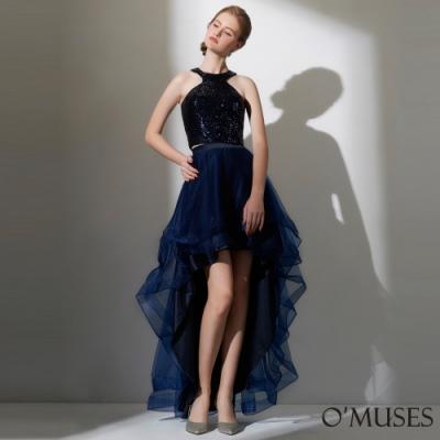 OMUSES 亮片上衣+前短後長蓬紗裙兩件式禮服