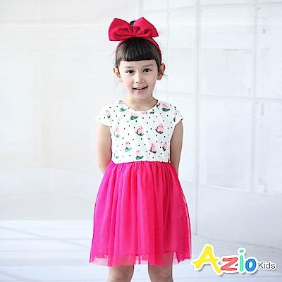 Azio Kids 洋裝 滿版草莓網紗下擺洋裝(桃)