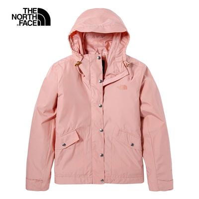 The North Face北面女款粉色防潑水防風連帽外套|5AYD0LA