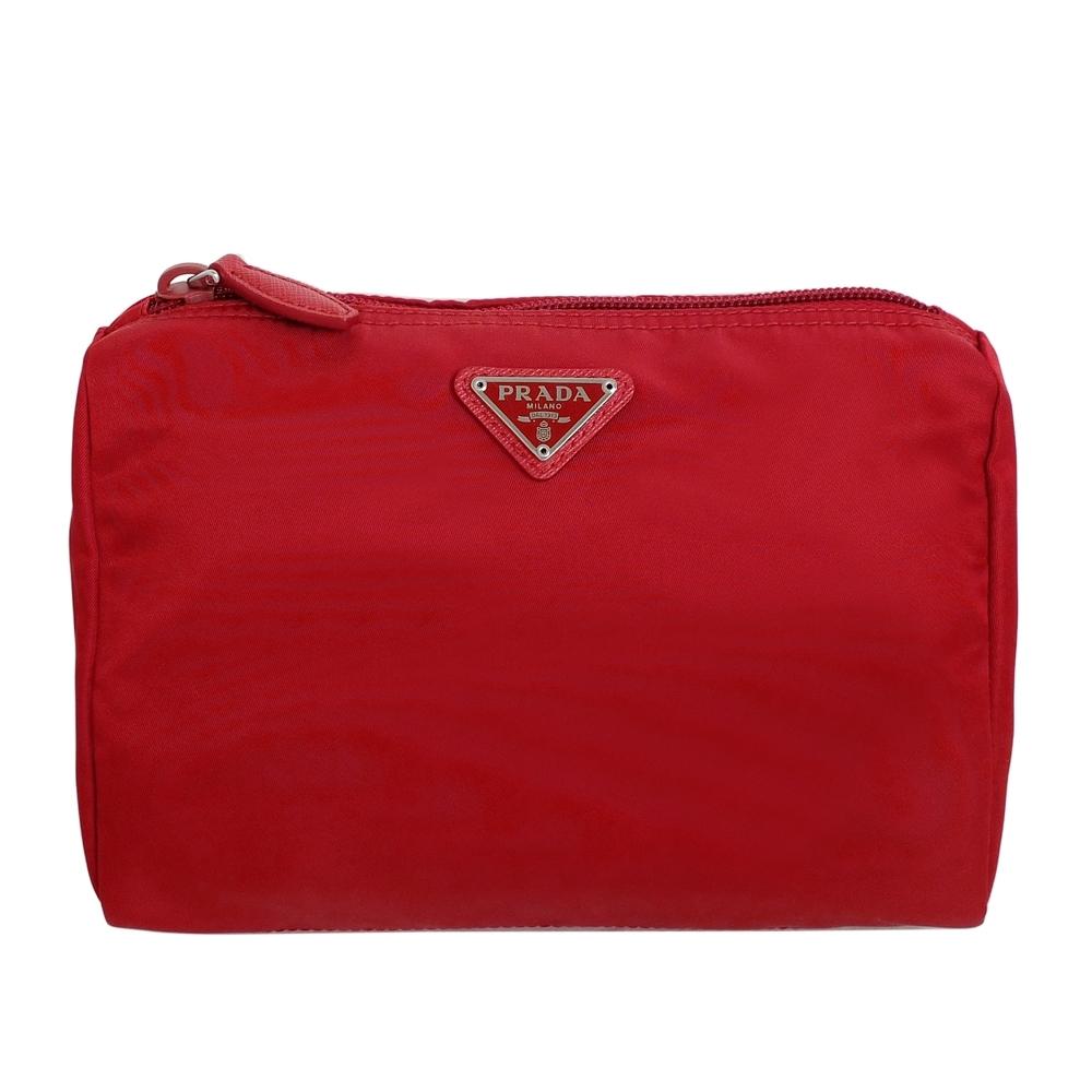 PRADA經典三角飾牌尼龍上拉鍊化妝包(紅色/中款)