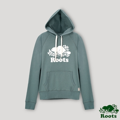 Roots女裝- 經典海狸LOGO連帽上衣-湖水綠