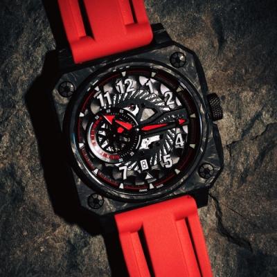 ROMAGO 碳霸系列 超級碳纖自動機械腕錶 - 黑紅色/46.5mm