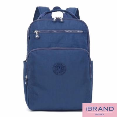 iBrand後背包 輕盈防潑水素色雙拉鍊尼龍後背包(大)-藍色