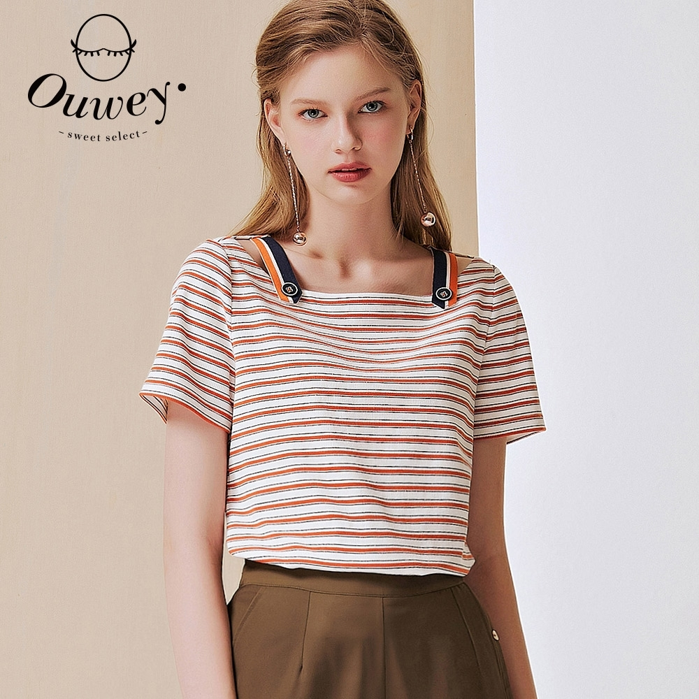 OUWEY歐薇 高含棉坑條織蔥條紋拼接上衣(桔/深綠)3212061612