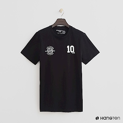 Hang Ten - 男裝 - 有機棉-有機棉-簡約配色數字logo棉T - 黑