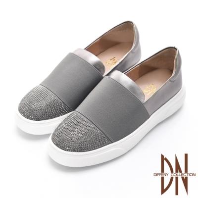 DN休閒鞋_舒適繃帶拼接水鑽真皮平底休閒鞋-灰