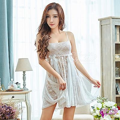 Sexy Cynthia性感睡衣 優雅白色平口蕾絲二件式性感睡衣-白F