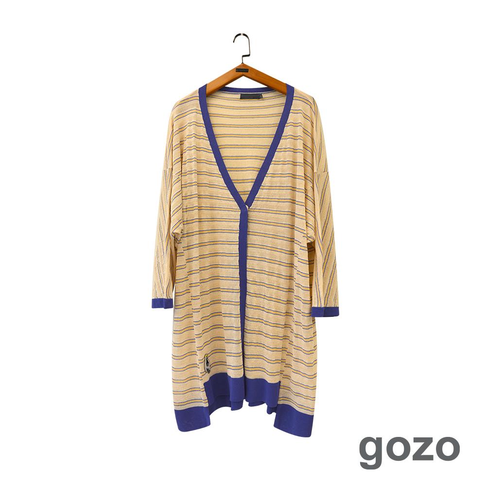 gozo 撞色單釦橫條長版開襟線衫外套(二色)