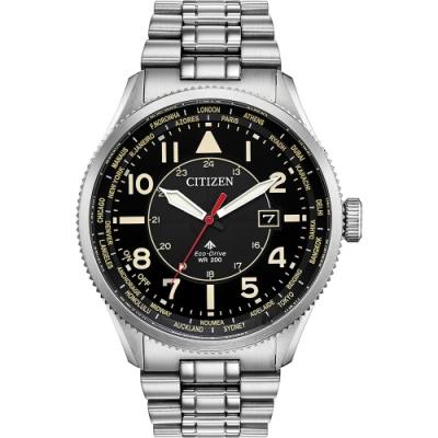 CITIZEN 星辰 光動能萬年曆手錶-黑x銀/44mm(BX1010-53E)