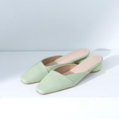 Grace gift-方頭斜口圓跟穆勒鞋 綠