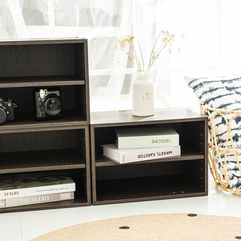 樂嫚妮 收納櫃/置物櫃/二層空櫃-3入組-深胡桃木色