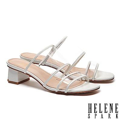 拖鞋 HELENE SPARK 時尚潮流透明膠片羊皮滾邊粗高跟拖鞋-白
