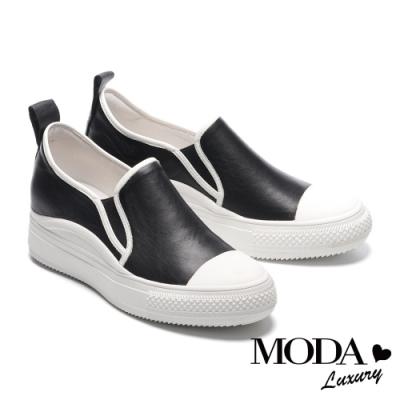 休閒鞋 MODA Luxury 百搭拼接全真皮內增高厚底休閒鞋-黑