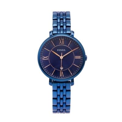 FOSSIL 羅馬優雅風的不鏽鋼手錶(ES4094)-藍紫面X藍色/36mm