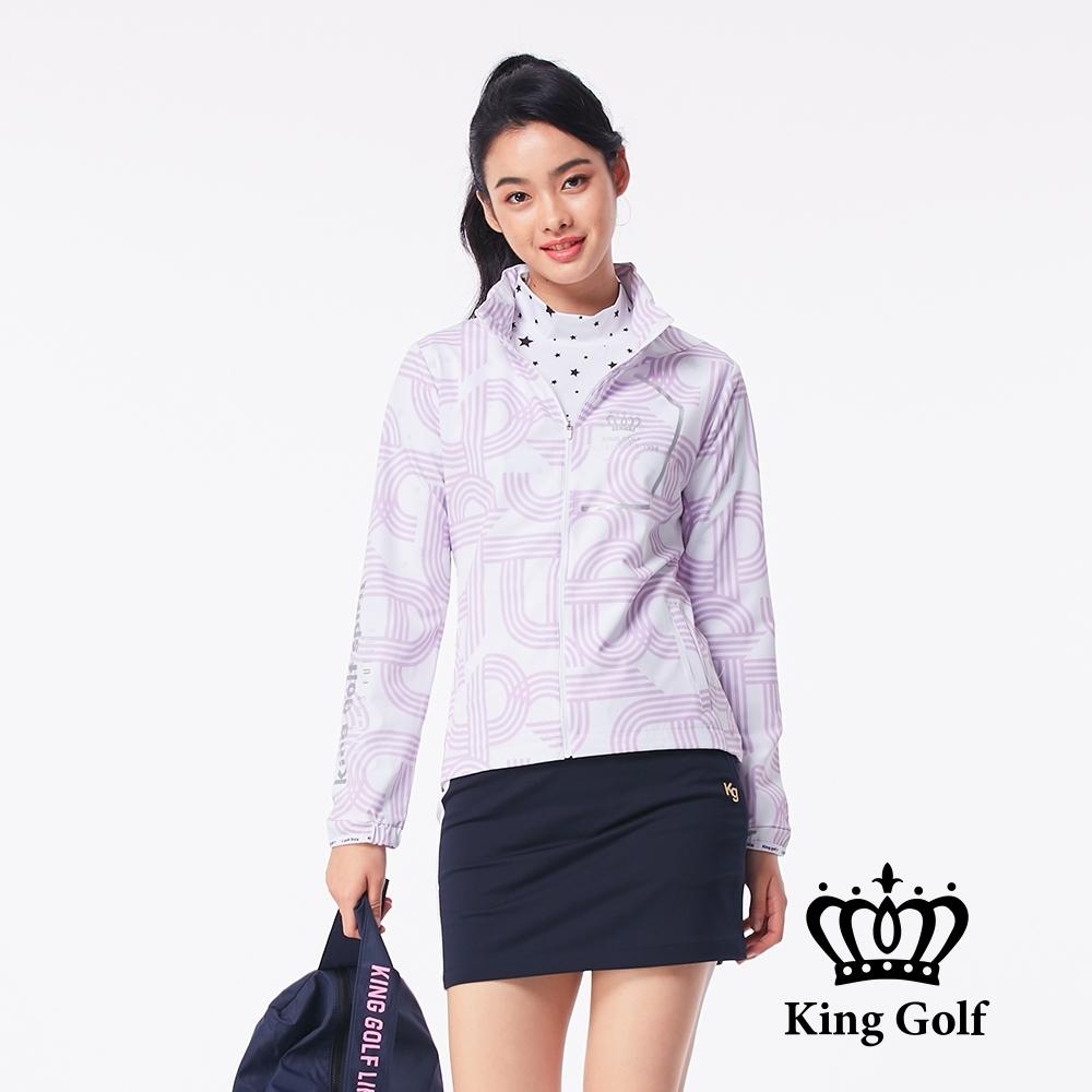 【KING GOLF】條紋字體可收式連帽外套-淺紫色