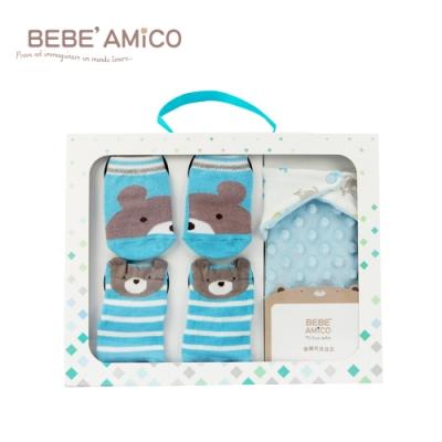 【時時樂限定】BEBE AMiCO-童話襪+可愛三件組禮盒-(粉髮帶/藍三角圍巾)