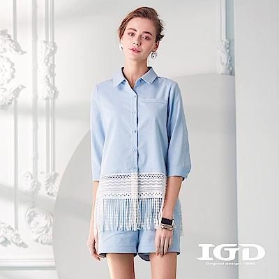 IGD英格麗 七分袖拼接流蘇造型襯衫
