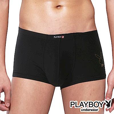 PLAYBOY 兔頭LOGO嫘縈柔感四角褲 平口褲~單件~黑