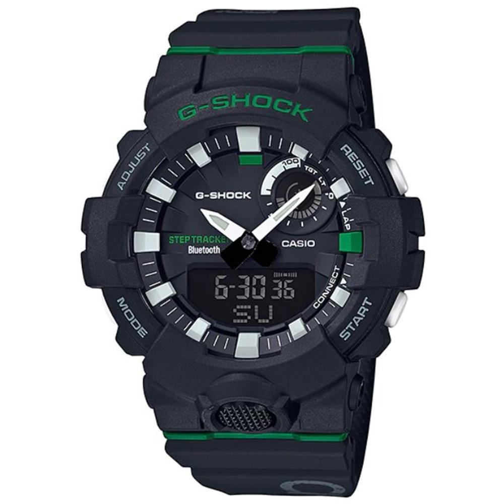 G-SHOCK 百搭玩色運動計步藍芽雙顯錶(GBA-800DG-1A)黑X綠/54.1mm