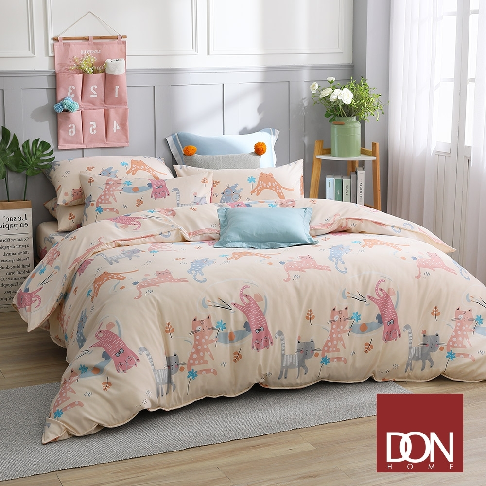 【DON】 吸濕排汗天絲兩用被床包組-單/雙/加 均一價 (俏皮貓)