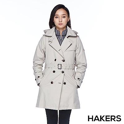 【HAKERS 哈克士】女款 三合一城市防水羽絨外套(夏朵灰)