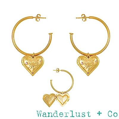 Wanderlust+Co 鑲鑽藏寶盒愛心 浪漫垂墜式金色耳環 HARLOW LOCKET