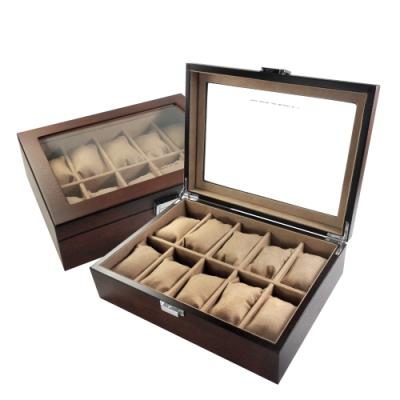 10入手錶收藏盒 配件收納 腕錶收藏盒 斑馬木紋 實木質感 - 紅棕色
