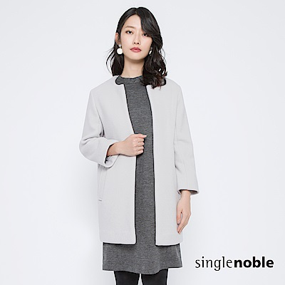 獨身貴族 繾綣優雅長版圓領羊毛大衣(1色)