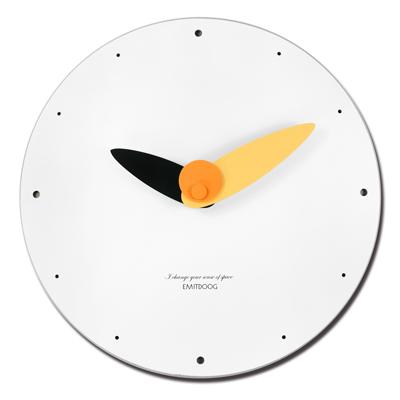 12吋 居家擺飾 輕薄簡約 北歐 無印風 餐廳客廳臥室 靜音 圓掛鐘 - 白黃色