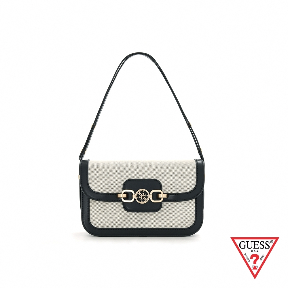 GUESS-女包-時尚異材質拼接LOGO飾扣肩背包-黑 原價3090