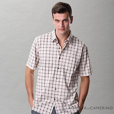 ROBERTA諾貝達 台灣製 合身版 休閒格紋短袖襯衫 咖啡