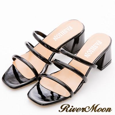 River&Moon涼鞋-名媛氣息光澤三線條粗跟涼拖鞋-黑