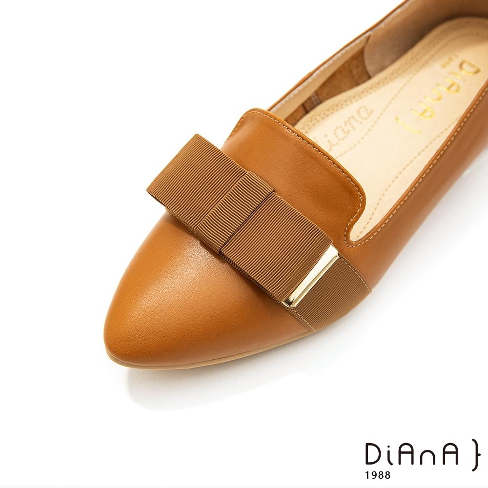 DIANA 2cm質感雙色牛皮寬帶蝴蝶結低跟樂福鞋-漫步雲端焦糖美人-榛果棕
