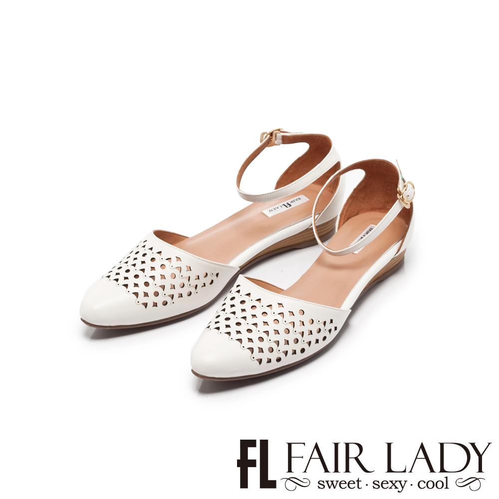Fair Lady Hi Spring 幾何圖形縷空繫踝楔型低跟涼鞋 白