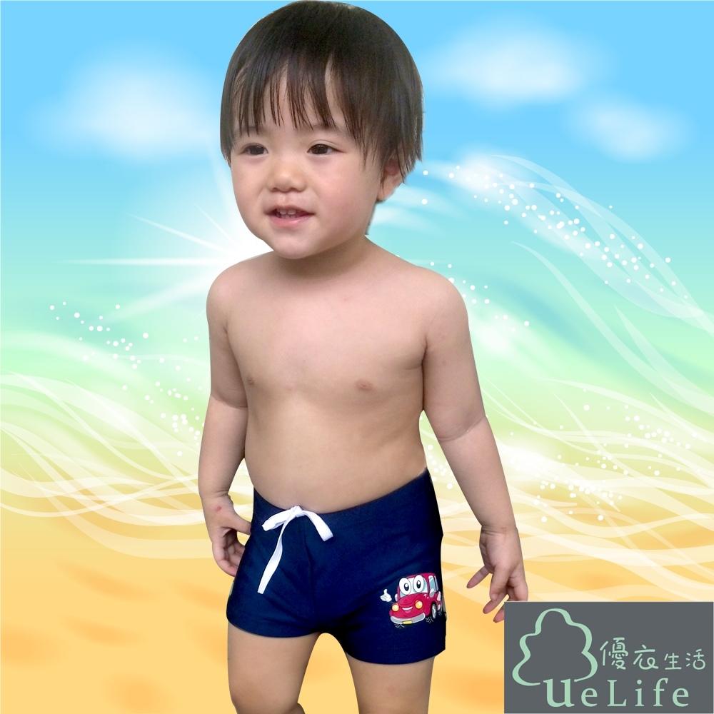 優衣生活ueLife 小男童五分泳褲 可愛小汽車(B724深藍)