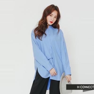 H:CONNECT 韓國品牌 女裝-不對稱純色襯衫-藍(快)