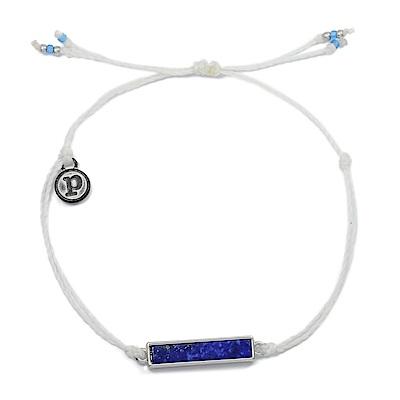 Pura Vida 美國手工 青光石長形墜飾 白色臘線衝浪手鍊手環