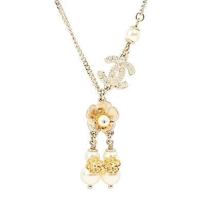 Chanel 經典雙C LOGO花朵珍珠流蘇二段式項鍊(銀/金/米白)