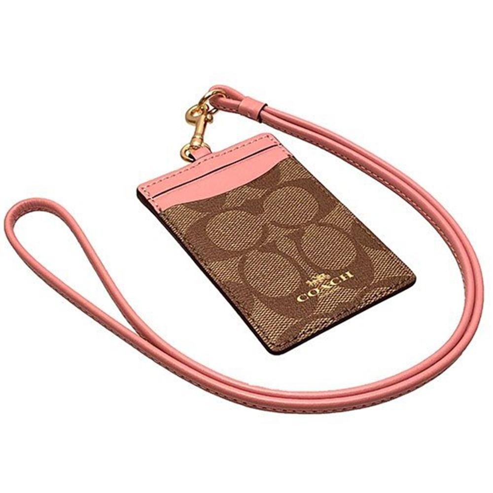 COACH 經典LOGO防刮皮革證件套-粉色