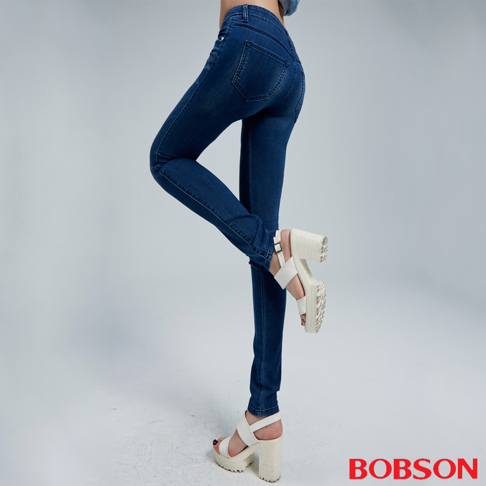 BOBSON 女款優質觸感緊身深藍牛仔褲