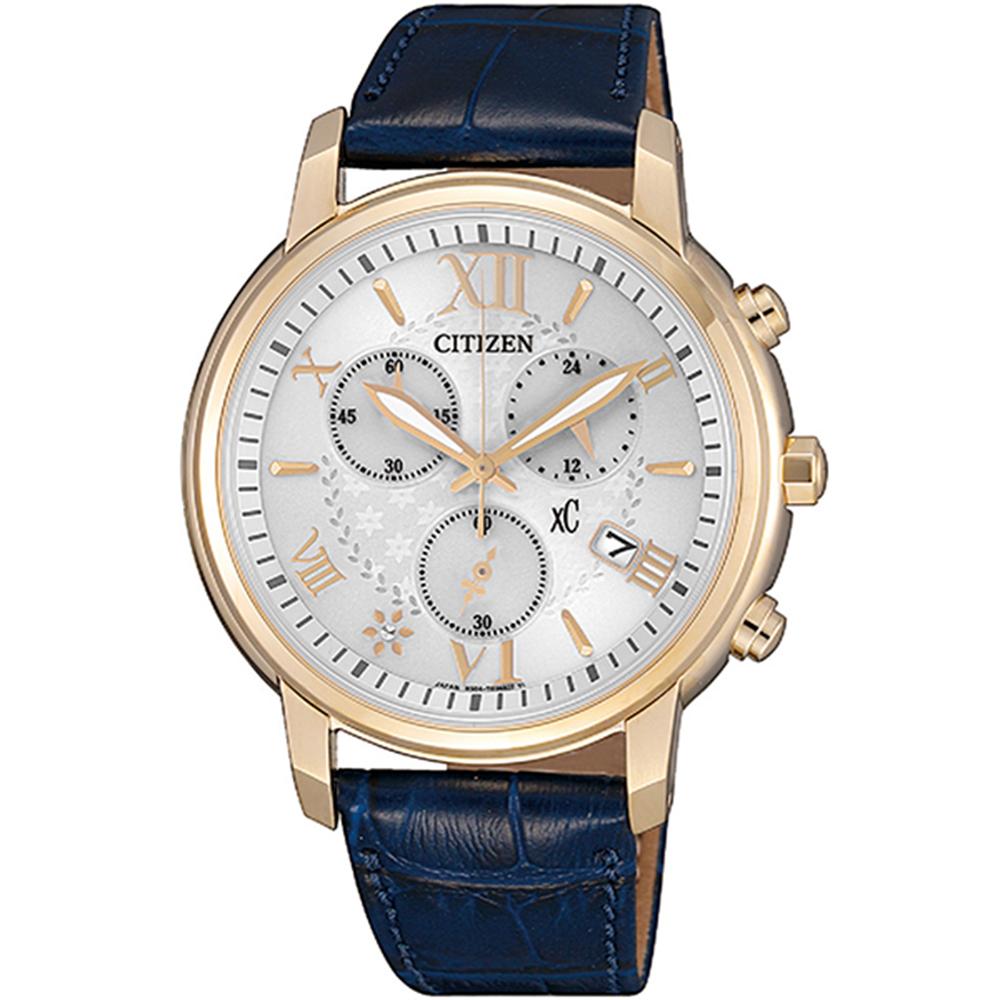 CITIZEN 星辰XC系列光動能典雅藍色皮腕錶38mm(FB1432-21A)