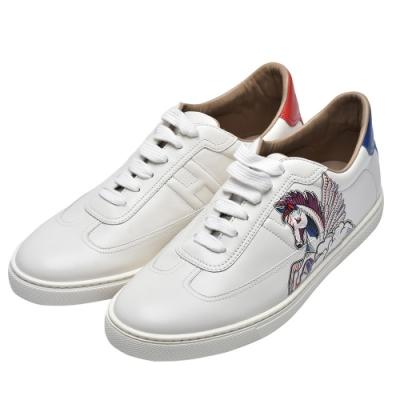 HERMES Quicker sneaker系列飛馬圖案橡膠鞋底運動鞋(白)