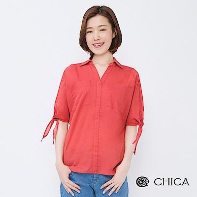 CHICA 摩登80袖綁帶開襟純色襯衫(2色)