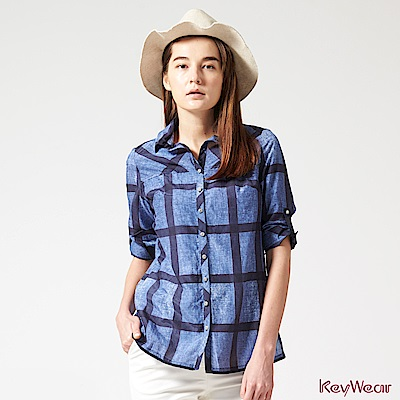 KeyWear奇威名品    經典格紋優雅舒適絲棉八分袖襯衫-藍色