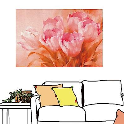 橙品油畫布 單聯 時尚無框畫 掛畫-粉紅花卉 40x60cm